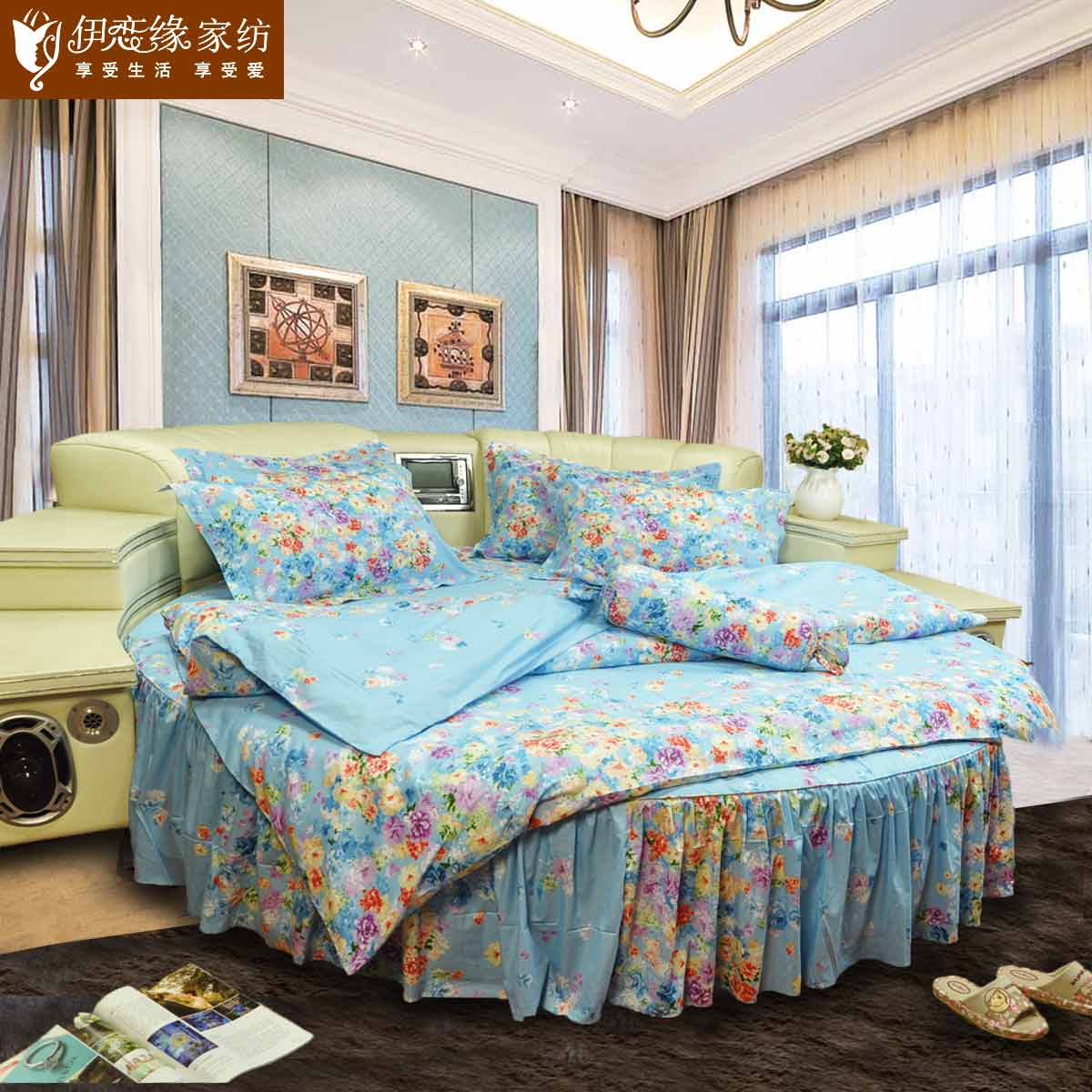 Love iraqi edge cotton bedspread bed skirt round bed family of four korean garden fresh round kit custom flower thousand bones