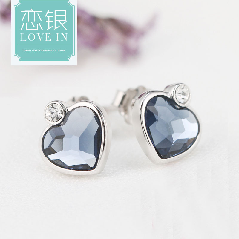 Love silver s925 genuine sterling silver cz stud earrings female south korean fashion temperament female models hypoallergenic earrings peach heart shape