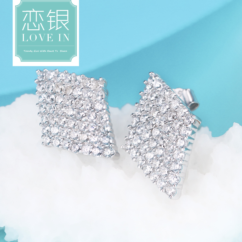 Love silver s925 sterling silver stud earrings female korean korean fashion jewelry temperament geometric diamond micro pave cz earrings