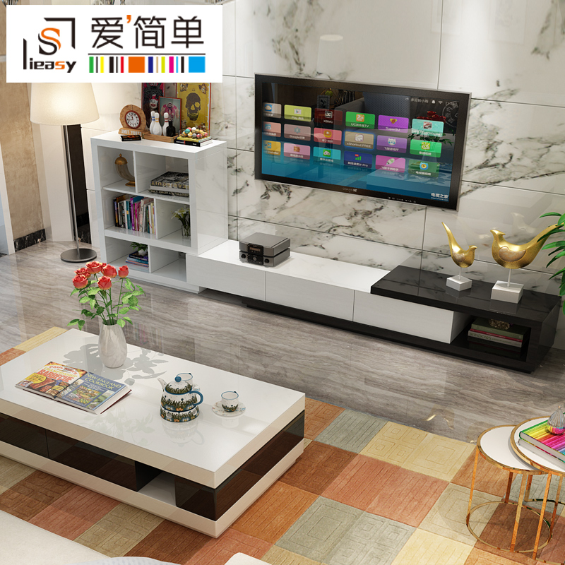 Love simple modern minimalist living room tv cabinet paint combination coffee table tv cabinet furniture sets