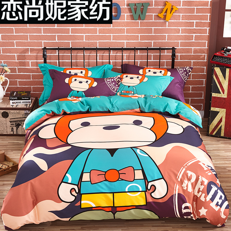 Love still ni textile cotton children's cartoon thick brushed cotton denim three paul warm bedding linens