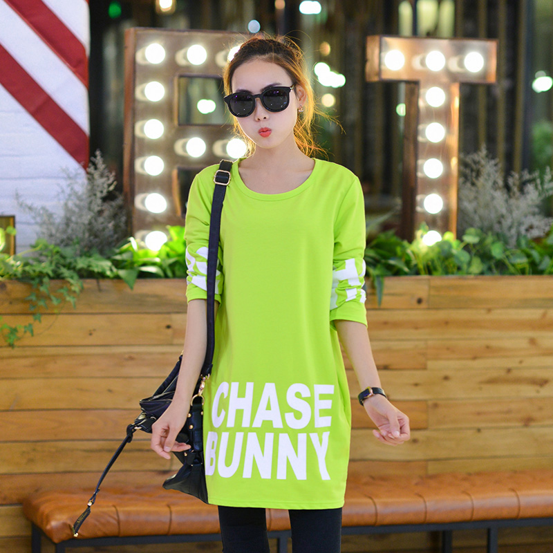 Love the sky/sky love korean version of large size women loose in the long section bottoming letters printed t-shirt dress