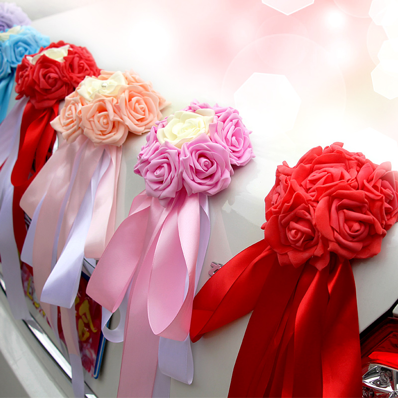 Love wedding car rear semicircle round pe simulation roses flower ball decoration ball ribbon bow combination