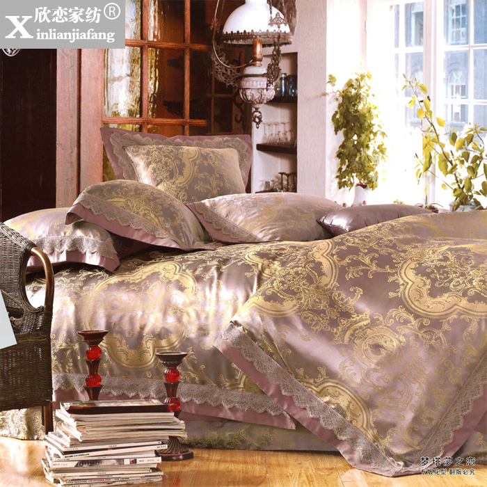 Love welcomes european textile sample room full silk jacquard wedding liu jiantao bedding sided XLZ-37