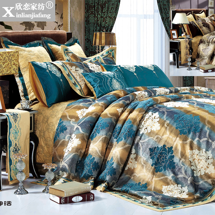 Love welcomes european textile soft loading of silk satin jacquard ten sets of bed villa home XPS-50