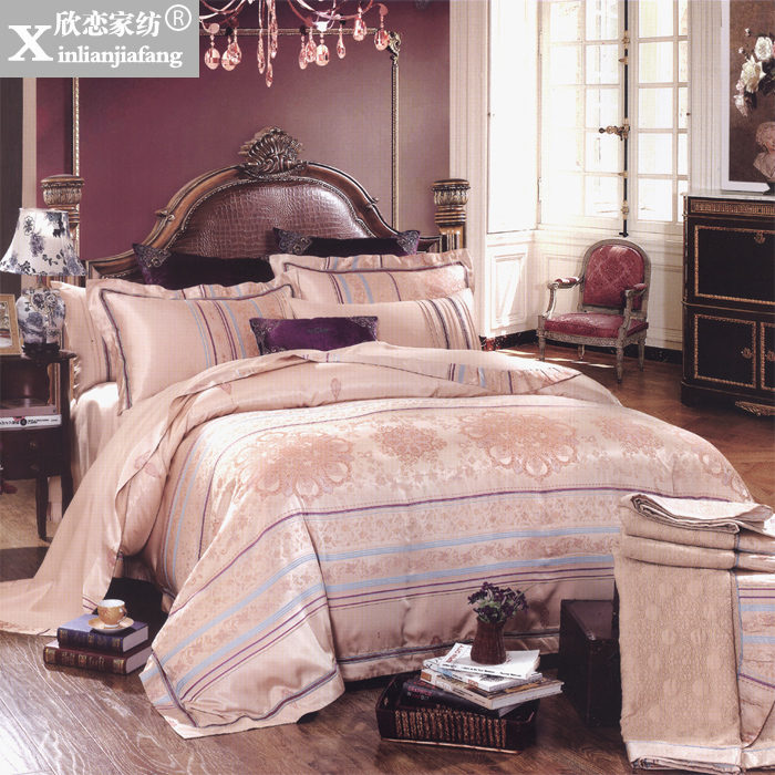 Love welcomes villa model room european textile silk satin jacquard bedding package eight sets of SR-17