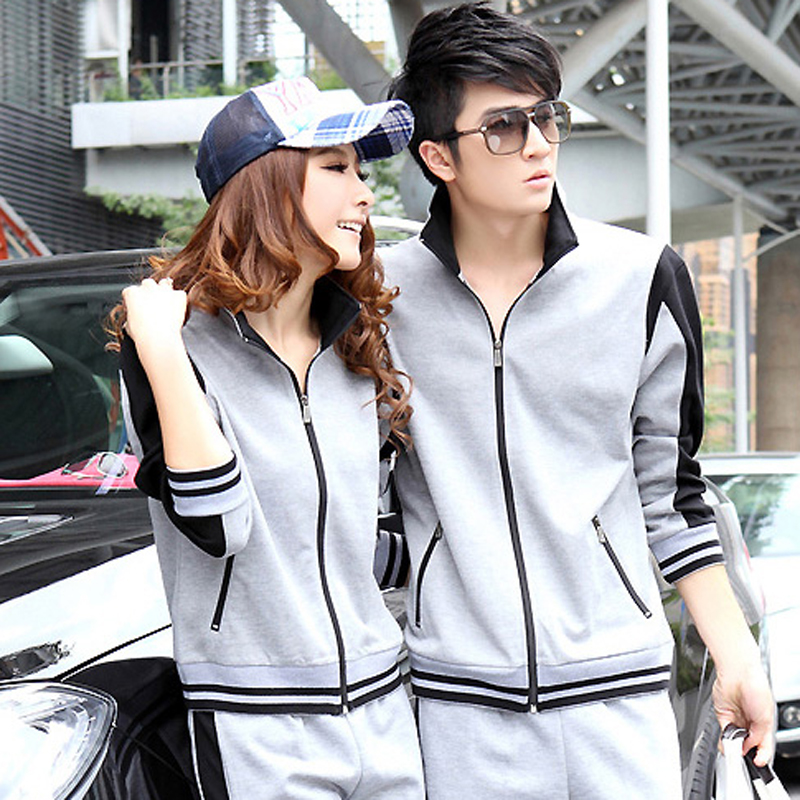 Lovers collar men and women sportswear warm breathable sports suit 2016 spring and autumn size yard casual clothes