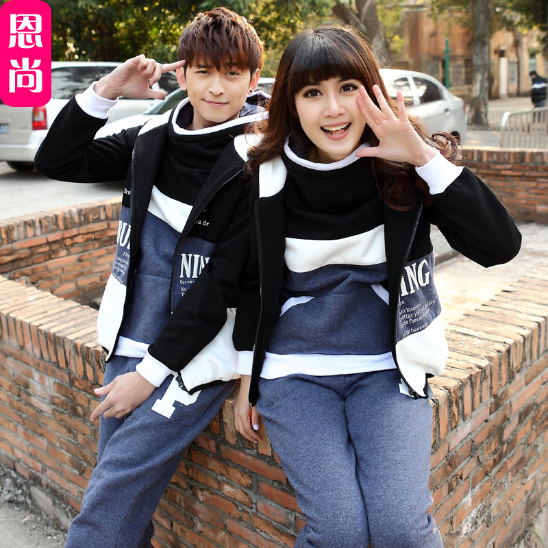 Lovers fall and winter 2016 new korean version of slim leisure sports sweater suit lovers thick sweater three sets