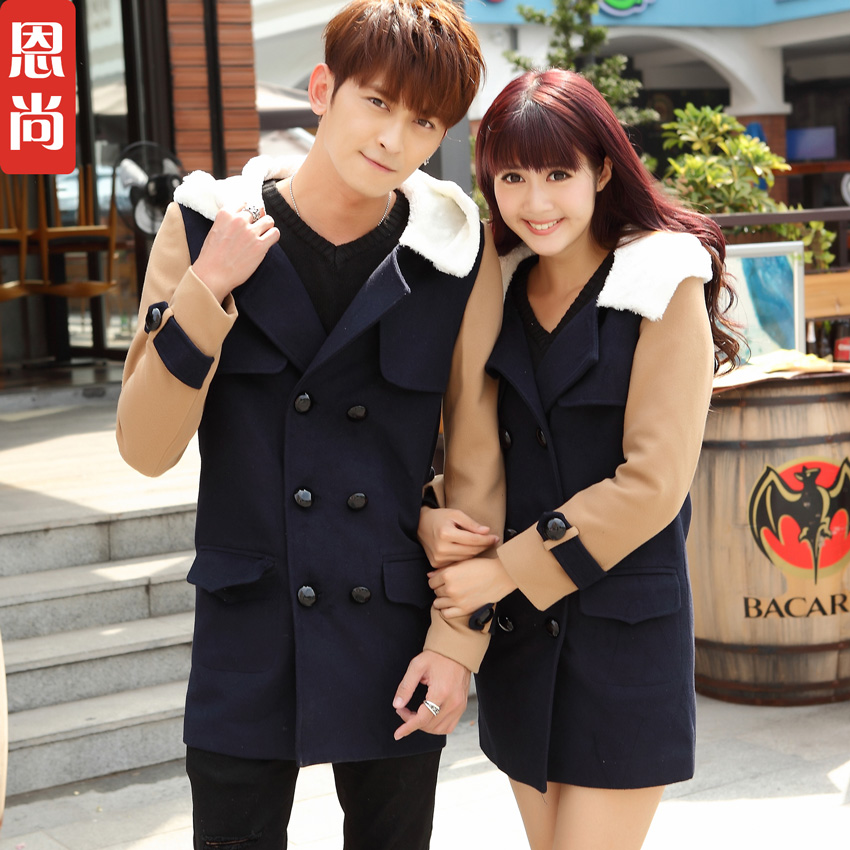 Lovers fall and winter clothes 2016 new korean version of the fall and winter long section woolen coat wind coat big yards students