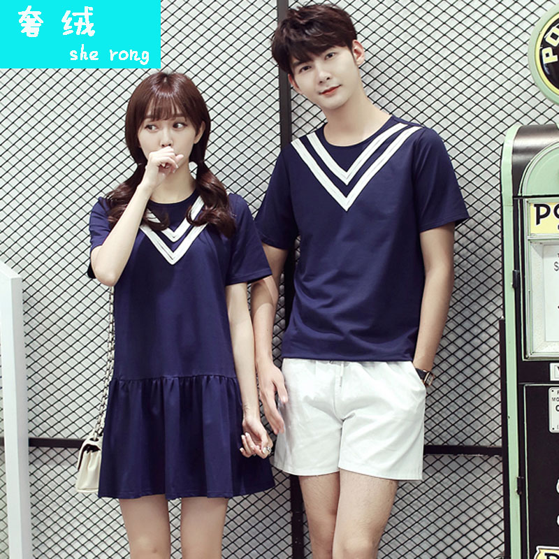 Lovers summer 2016 korean navy wind short sleeve t-shirt summer male and female students and a half sleeve summer women dress