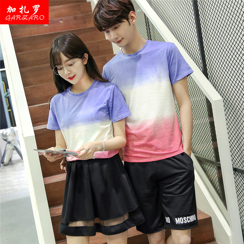 Lovers summer 2016 korean version of the gradient sleeved track suit sportswear for men and women students class service uniforms big yards couple shirt