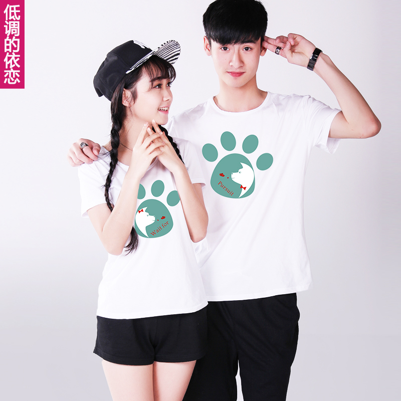 Lovers summer 2016 new korean version of the suit paw prints shorts for men and women half sleeve short sleeve t-shirt tide