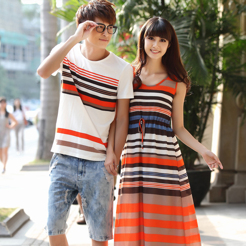 Lovers summer 2016 new south korean summer korean short sleeve t-shirt shirt round neck dress big yards ql grace yet