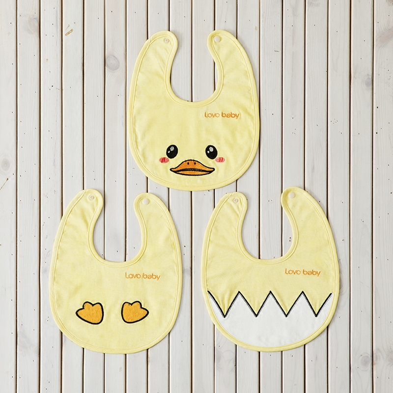 Lovo carolina textile life gosklno happy little yellow duck baby bibs two groups 3-baby bibs group