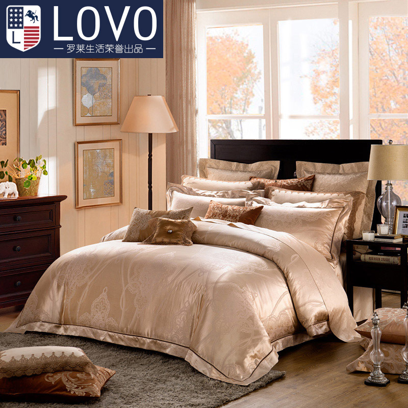 Lovo produced carolina textile cotton jacquard bedding linen quilt family of four pieces of european style m bed santa rosa