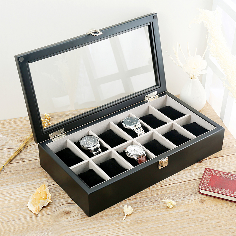 Lowe wooden watch box 12 mounted skylight watch display box collection box jewelry storage box with lock