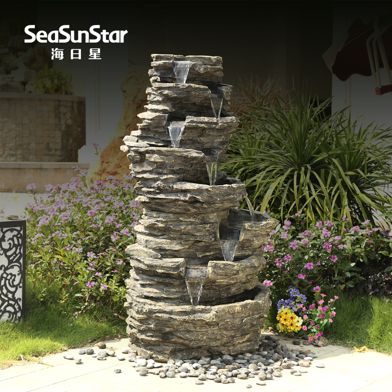 海日lowfat large pond rockery water fountain feng shui round ornaments creative living room floor balcony bonsai ornaments