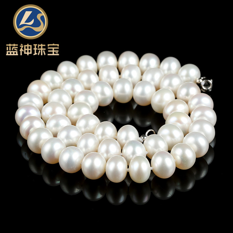 Ls/blue god perfect circle natural white freshwater pearl necklace full of female models pendant for her mother glare 1580