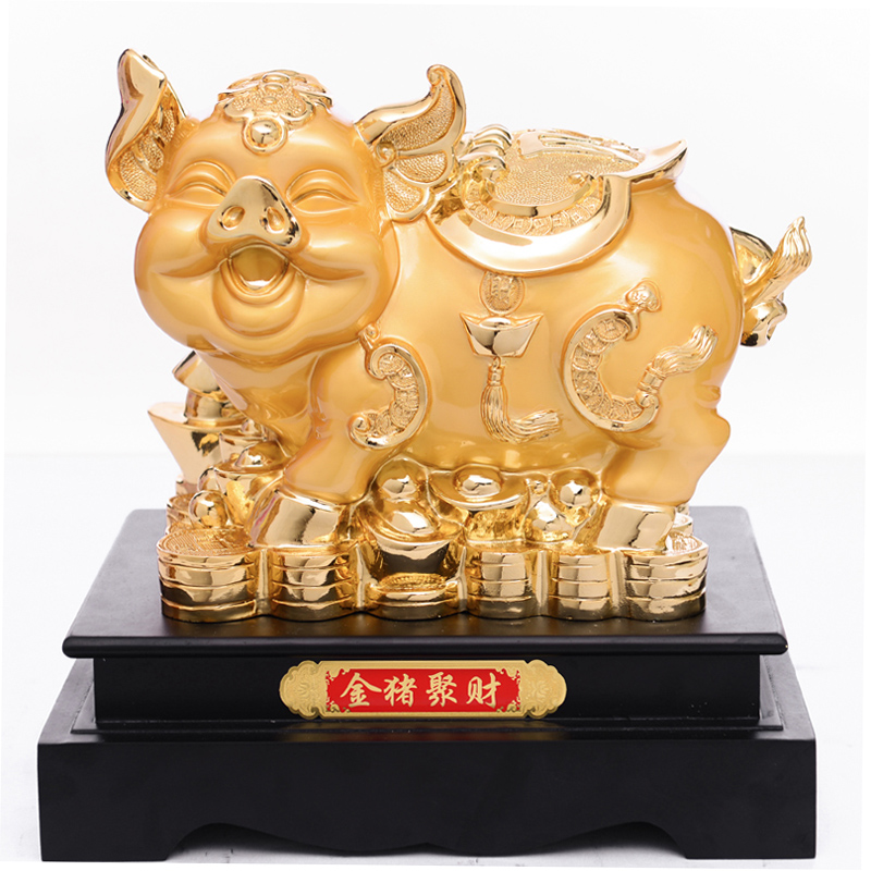 Lucky cute oversized golden pig piggy piggy piggy bank coins tank resin piggy creative gifts