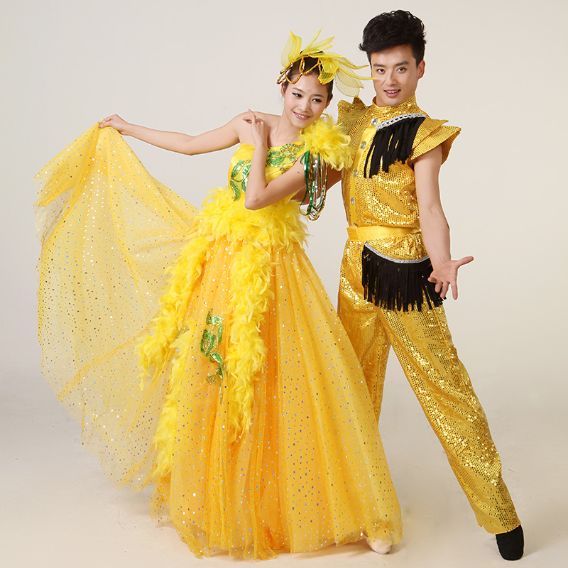 Lufthansa elegant costumes modern dance chorus of men and women lovers big skirt dance stage sequined shoulder combination package