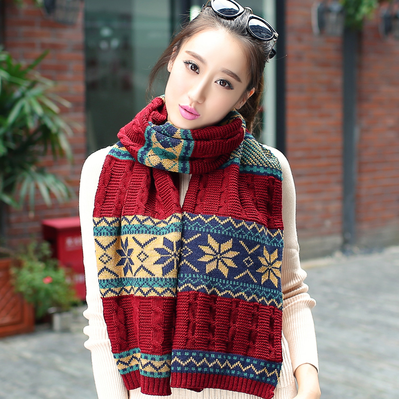 Lun mei expensive british style snowflake winter long thick wool scarves knitted scarves female korean autumn and winter days