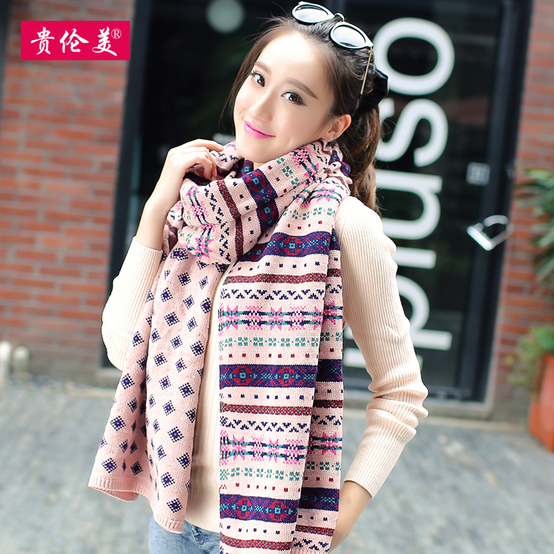 Lun mei expensive scarves korean female winter knitted scarf jacquard wool scarf winter long thick shawl students