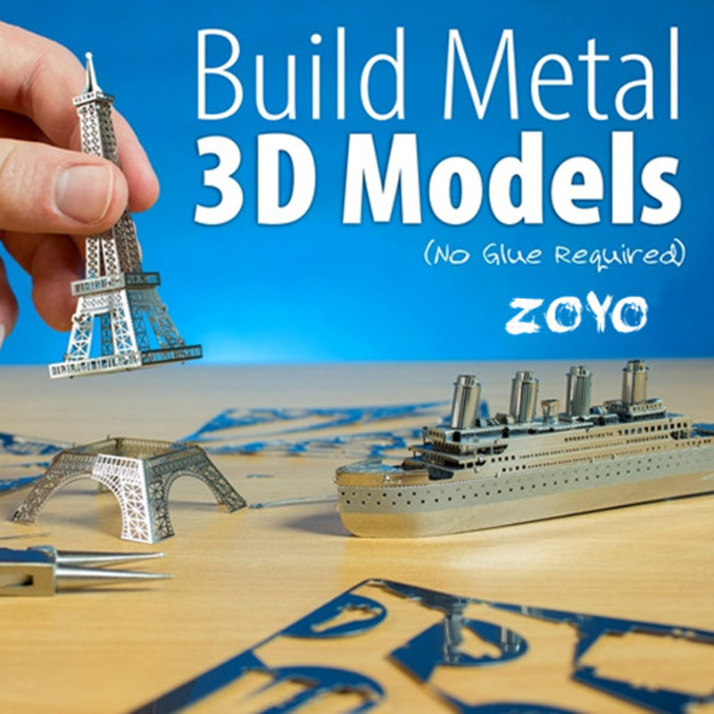 Luo aiou 3d three-dimensional puzzle metal building simulation aircraft model ship diy educational toys assembled by hand