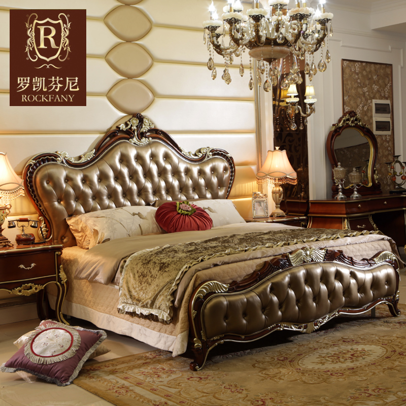 Luokaifenni american country bedroom furniture neoclassical european solid wood leather double bed 1.8 m bed b