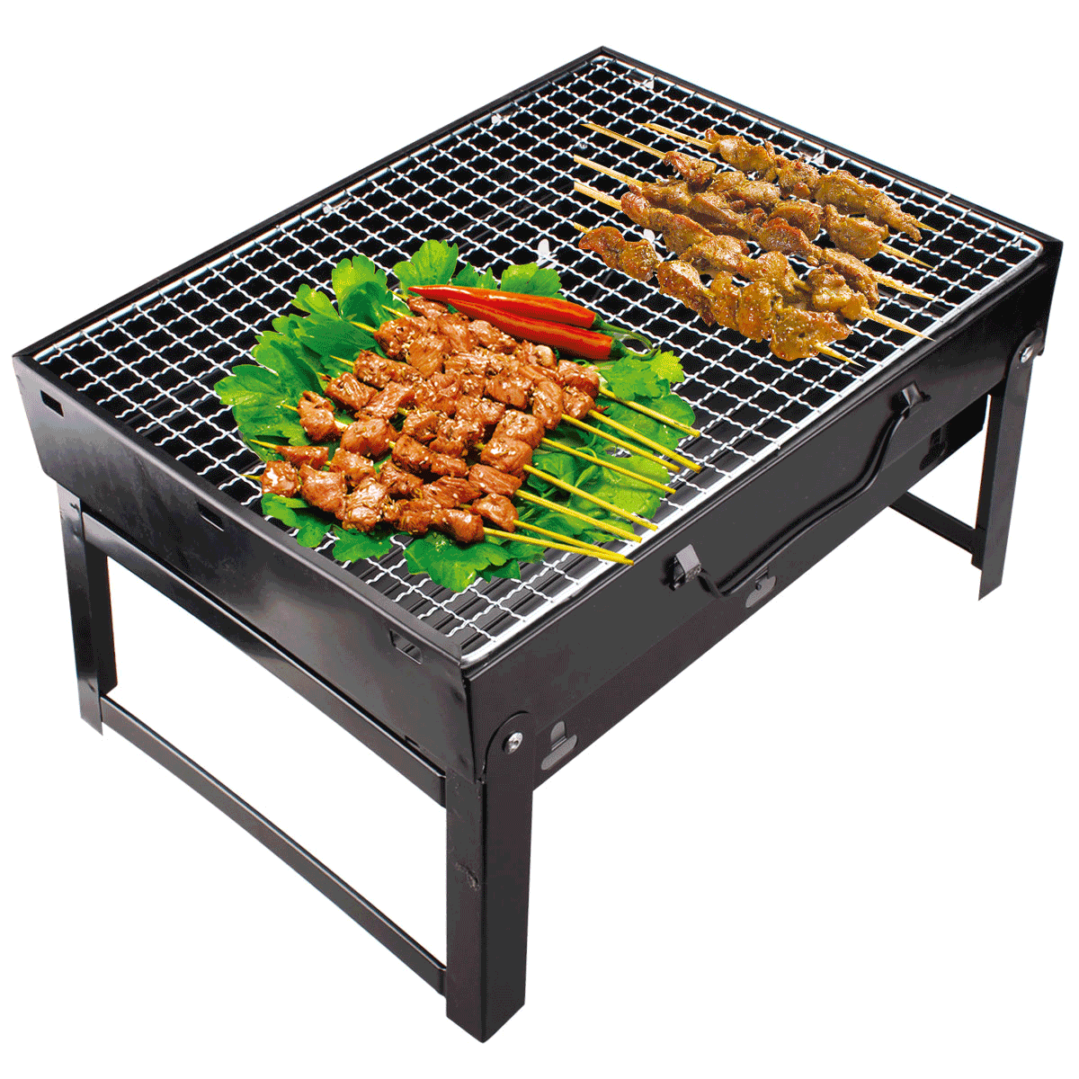 Luwint shipping black steel folding stainless steel grill home outdoor barbecue grill can be folded and easy to they carry