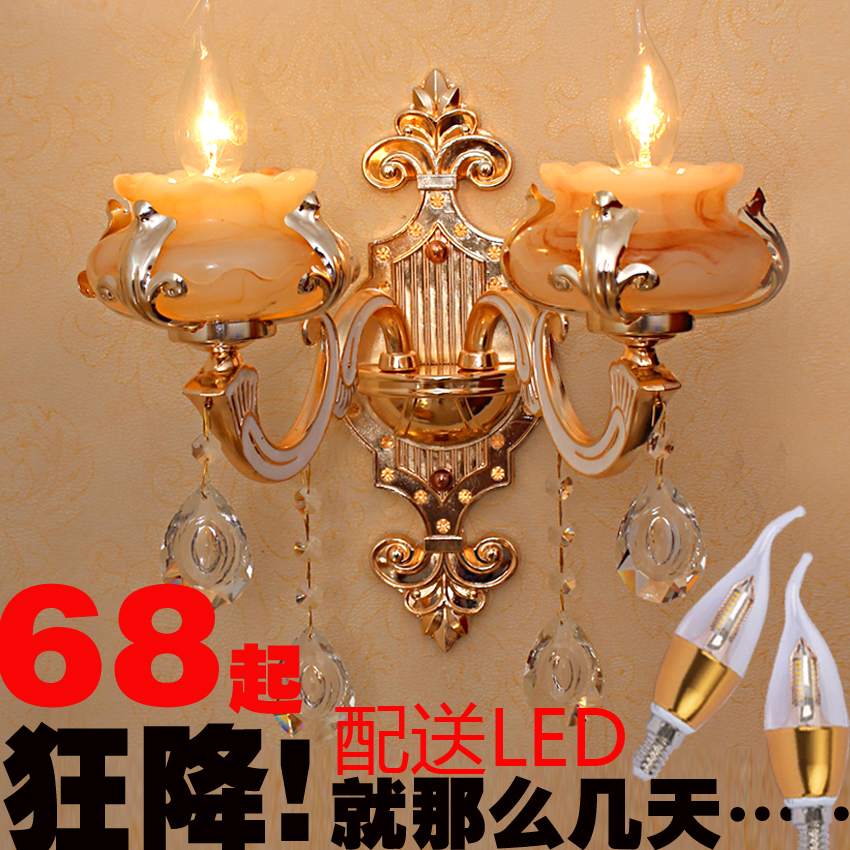 Luxury european zinc alloy crystal jade double single head wall lamp living room bedroom bedside aisle wall lamp