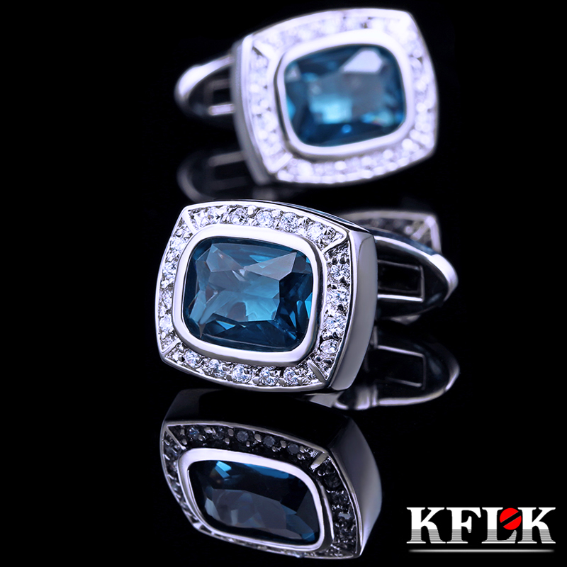 Luxury gift box kflk rhodium cufflinks french shirt blue zircon cufflinks cufflinks cufflinks men's shirt upscale