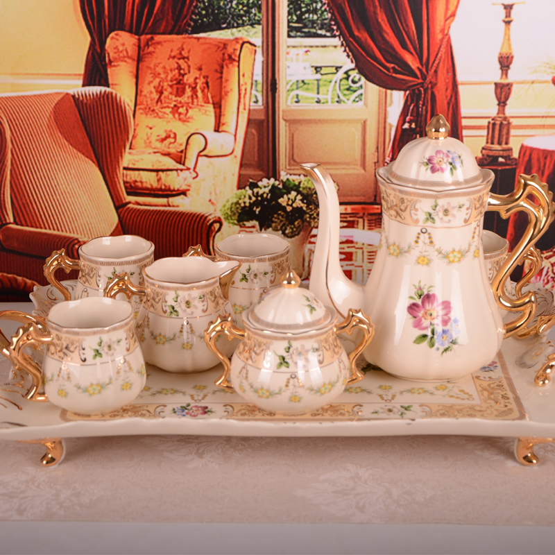 Luxury handmade continental gilt ivory porcelain gilt ceramic coffee mugs with a tray afternoon tea tea free shipping
