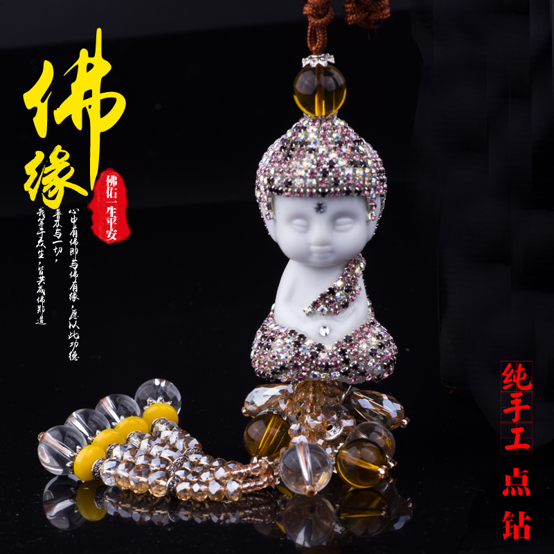 Luxury handmade diamond rhinestone crystal lotus seat car seat ceramic buddha pendant peace pendant car