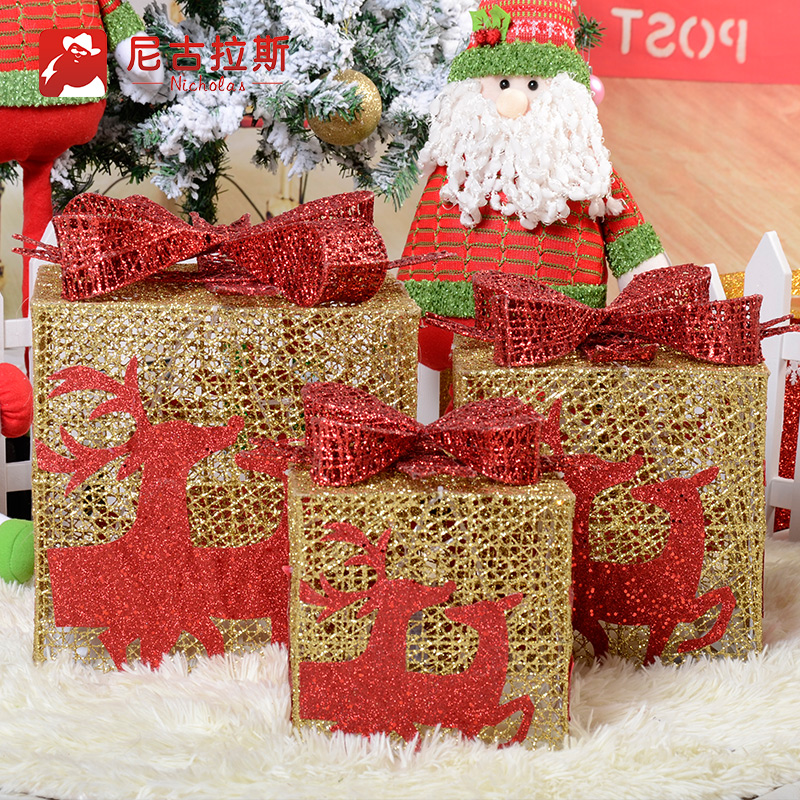Luxury wrought iron three sets of gift boxes with lights christmas box christmas gift box ornament christmas ornaments supplies