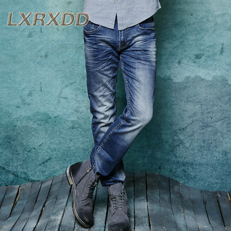 Lxrxdd fold fashion washed jeans 2016 new european and american minimalist men's casual trousers wild 0759