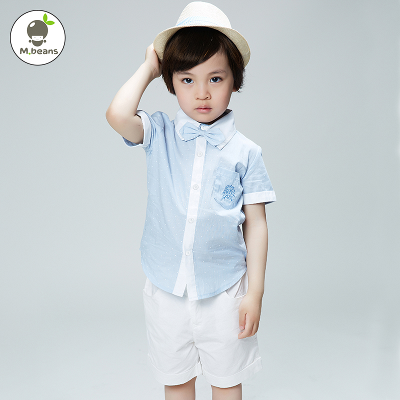 [M. beans] 2016 new summer children's clothing boys casual holiday performances sleeved cotton shirt shorts suit