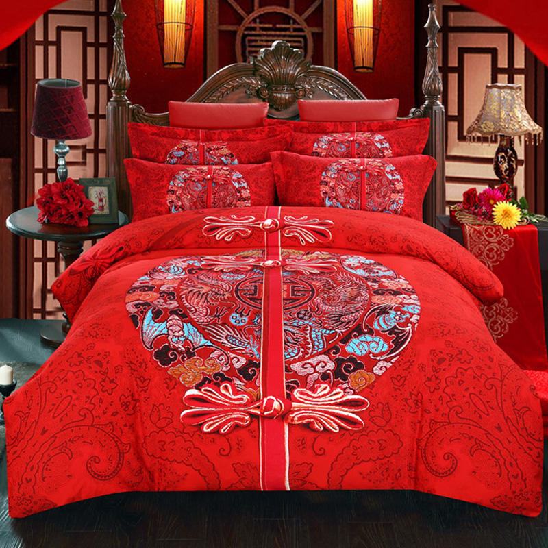 M bed quilt double brushed cotton denim wedding big red autumn and winter warmth of pure cotton m thick bedding