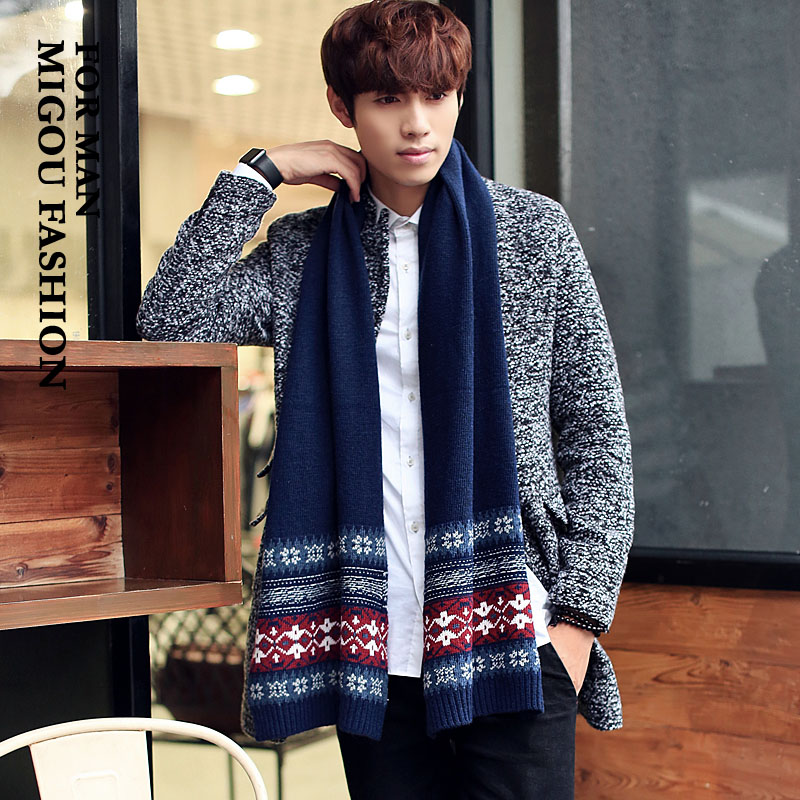 M buy korean version of the fall and winter days wool scarf men blend knit student men's scarf female national wind hit the color lovers