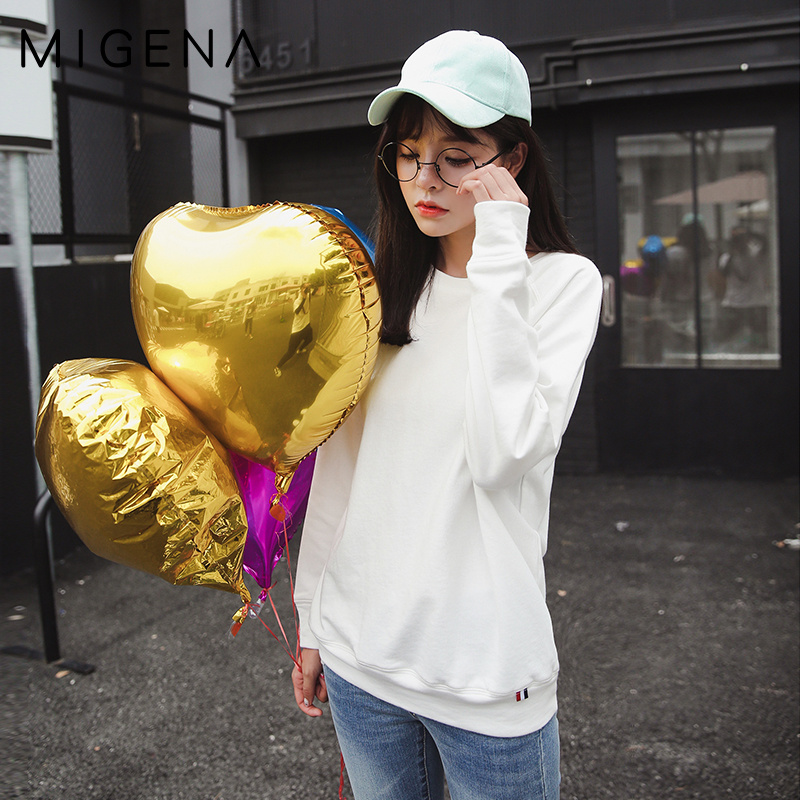M house na 100% autumn paragraph cotton sweater female korean version of the influx of students loose round neck hedging thin coat solid color long sleeve