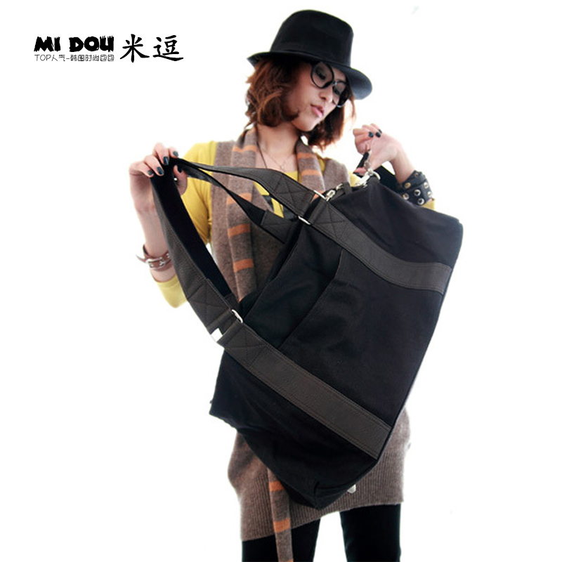 M tease 2016 new large bag retro handbags korean version of the canvas bag travel bag korean version of the shoulder bag black tide