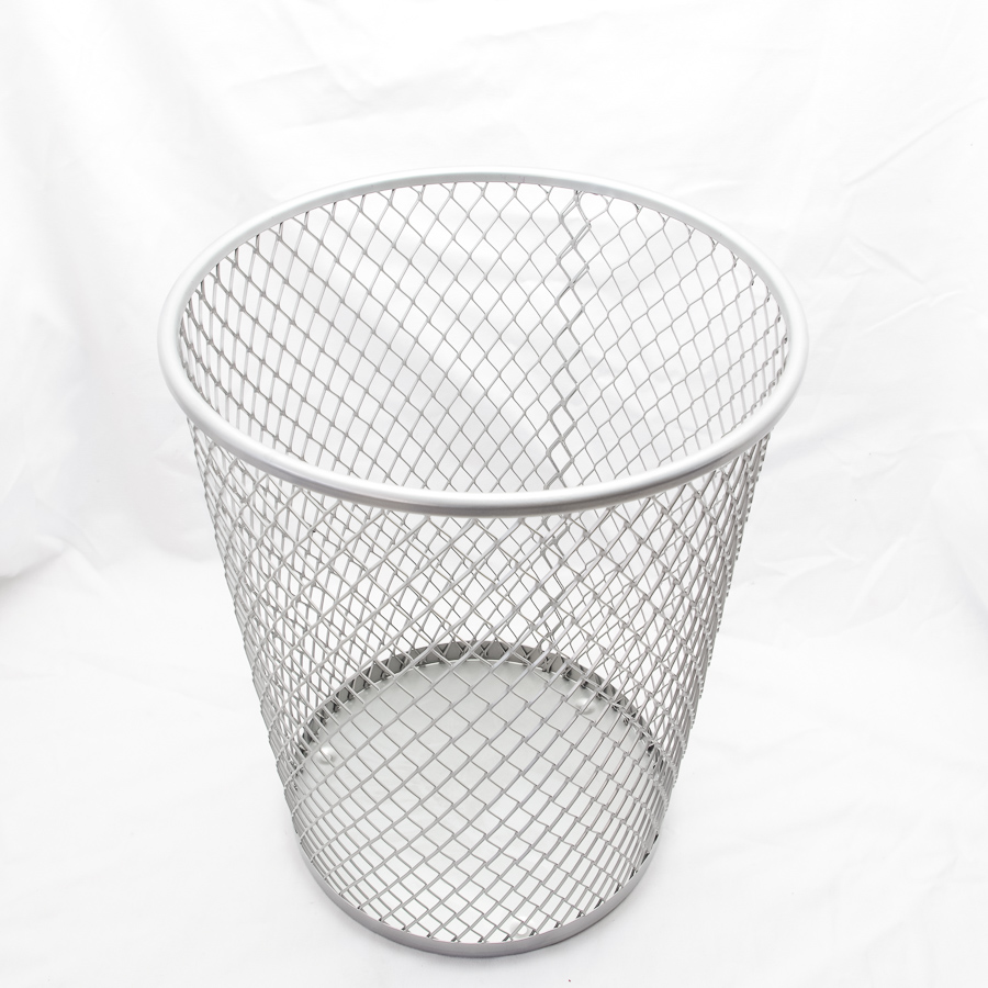 Macroporous mesh wastebasket trash iron mesh wastebasket trash metal minimalist home office storage consolidation