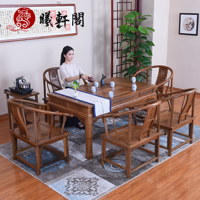 Mahogany furniture of ming and qing chinese classical carved antique tea sets tea table tea table and chair combination coffee table coffee table recommended deals