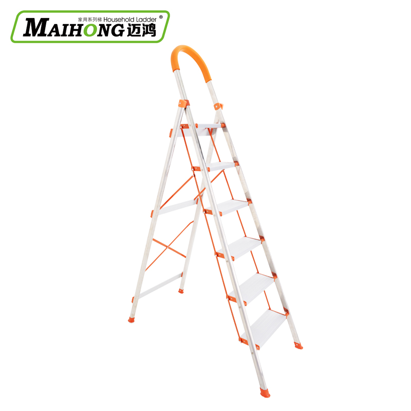 Mai hung genuine stainless steel ladder folding ladder household word ladder folding ladder pedal thicker six step ladder household Ladder