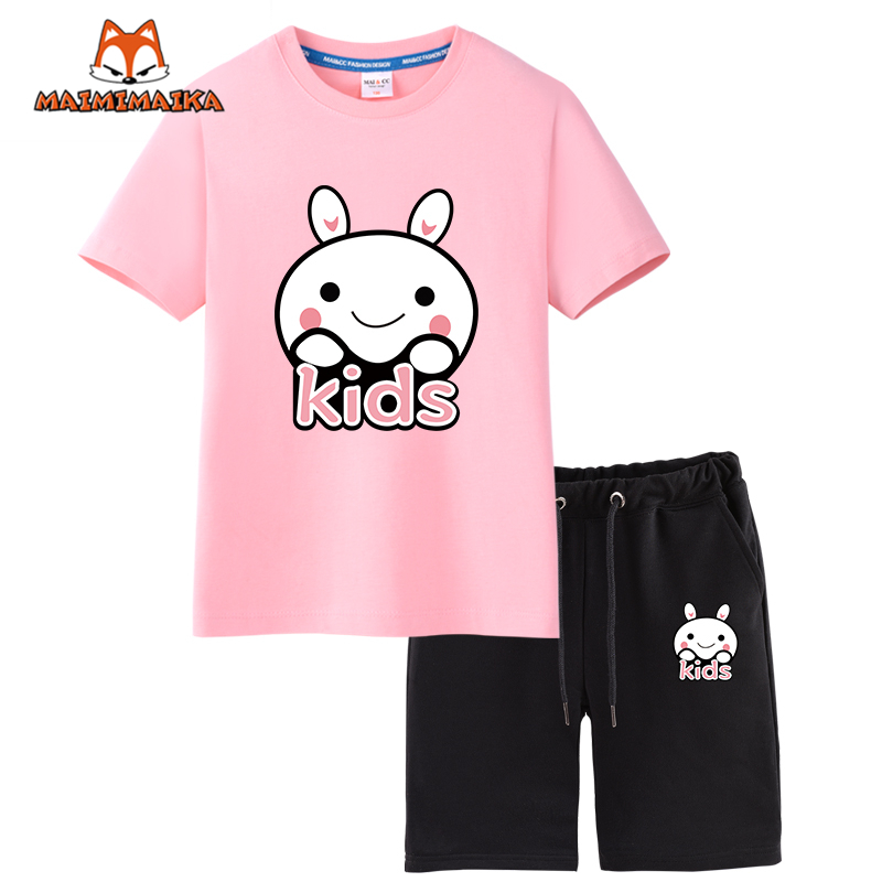 Maimi mccartney kids big virgin girls sports suit baby short sleeve summer two sets of children's suits siblings loaded