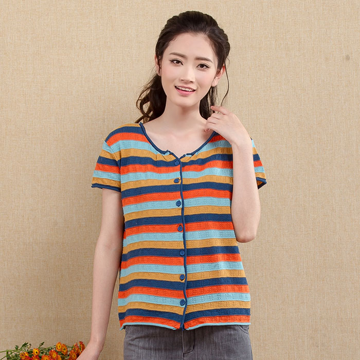 Mak inner style summer thin section striped short sleeve pure cotton thread bottoming knit cardigan sweater women