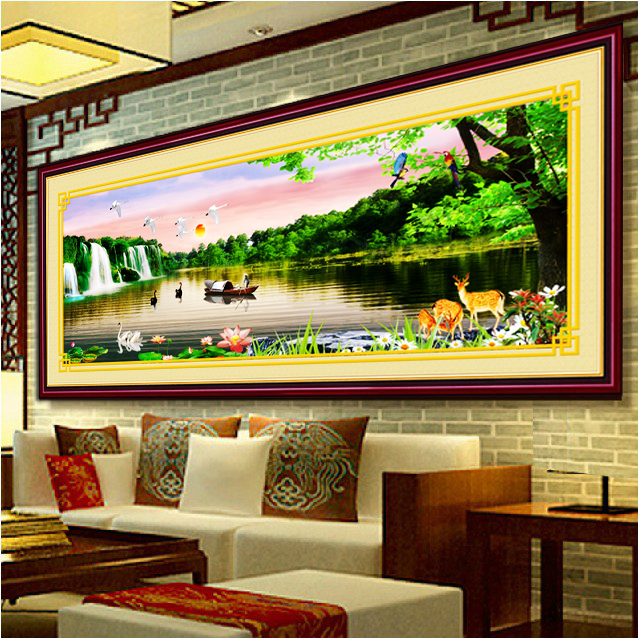 Making money flowing stitch substantial new living room minimalist modern landscape painting landscape paintings 3d printing stitch
