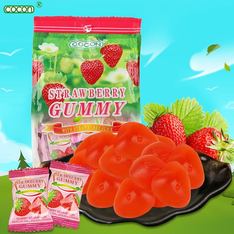 Malaysia imported snacks cocon/can kang strawberry fruit soft candy candy candy snack 150g/bag