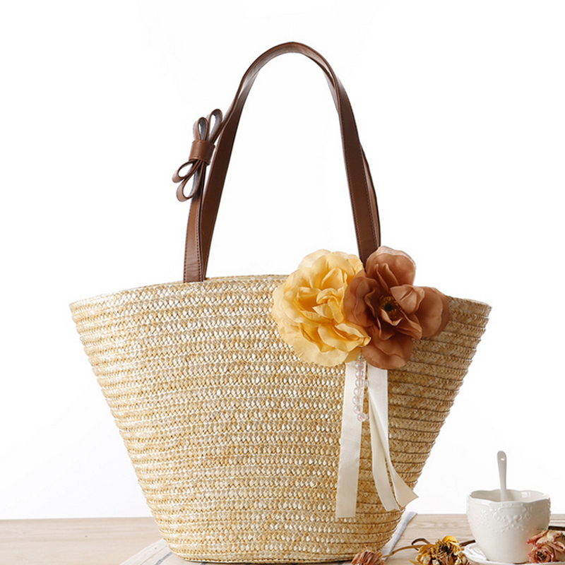 Maldives seaside resort essential straw bag beach bag large capacity
