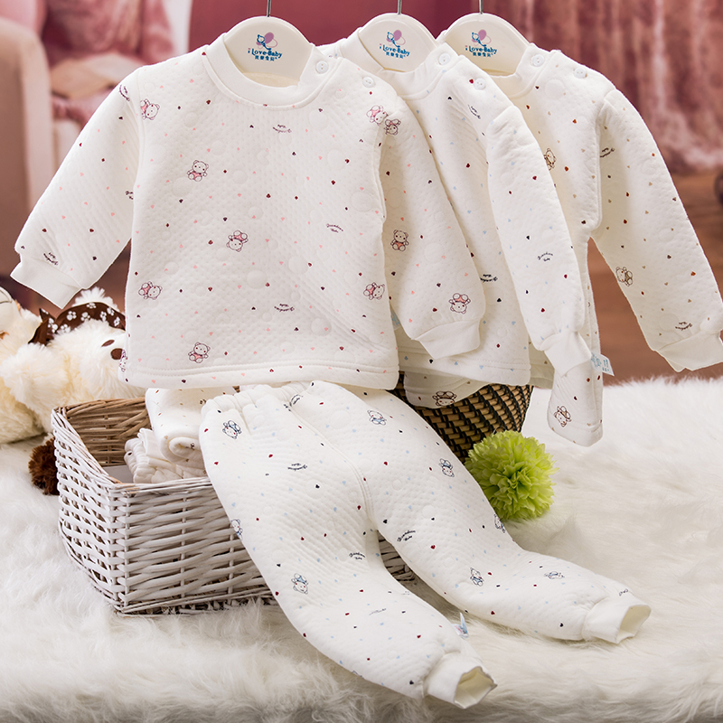 Male and female children warm clothing baby clothes newborn baby cotton thermal underwear thick autumn and winter long sleeve pajamas suit