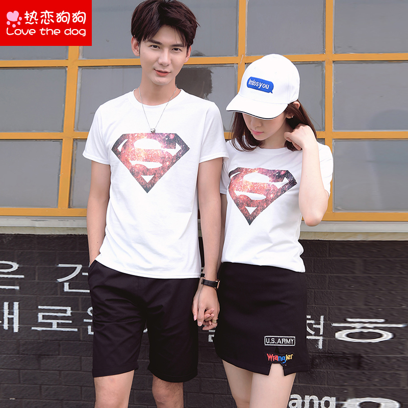 Male and female lovers summer 2016 new korean version of loose short sleeve t-shirt shorts skirt sleeve dress junior high school students in class service